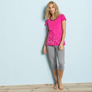 """Blancheporte Pyžamové tričko s motívom """"hviezdičkového dažďa"""" fuksia 54"""
