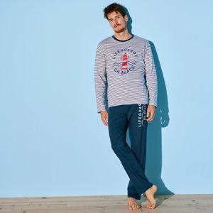 Blancheporte Pyžamové pruhované tričko s dlhými rukávmi modrá/biela 97/106 (L)