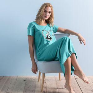 """Blancheporte Dlhá nočná košeľa s potlačou """"lemury"""" smaragdová 54"""