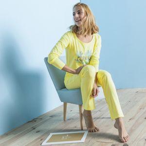 Blancheporte Pyžamo s dlhými rukávmi, bavlna, potlač Morning žltá 52