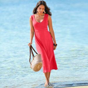 Blancheporte Dlhé jednofarebné šaty koralová 56