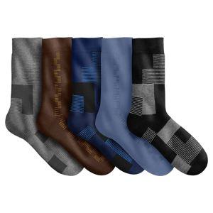 Blancheporte Ponožky s grafickým dizajnom, súprava 5 páry modrá+sivá+gaštanová 39/42