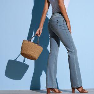 Blancheporte Strečové bootcut džínsy opraného vzhľadu zapratá modrá 42