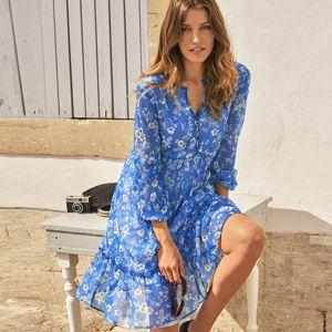 Blancheporte Voálové šaty s potlačou kvetín modrá/biela 44