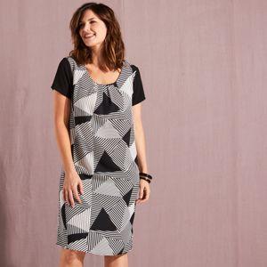 Blancheporte Šaty s grafickým dizajnom čierna/biela 48
