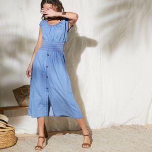 Blancheporte Denimové šaty s žabkovaním modrá 38