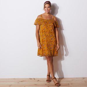 Blancheporte Šaty s volánmi a potlačou kašmíru medová/čokoládová 48