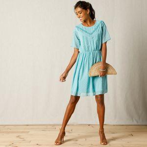 Blancheporte Voálové šaty s výšivkou modrosivá 44