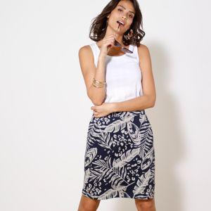 Blancheporte Rovná sukňa s potlačou nám.modrá/biela 52
