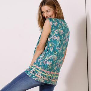 Blancheporte Tunika s potlačou kvetín modrosivá 48