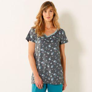 Blancheporte Pyžamové tričko s krátkymi rukávmi, potlač motýľov sivá 38/40
