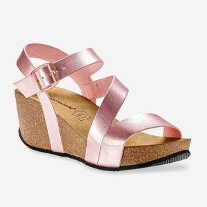 Blancheporte Kožené sandále na kline, ružové zlatoružová 40