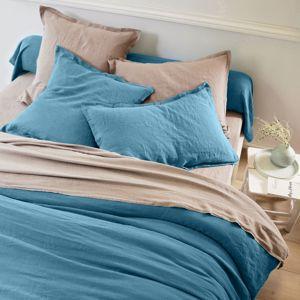 Blancheporte Jednofarebné obliečky, opraný ľan, zn. Colombine modrá obliečka na prikrýv. 200x200cm