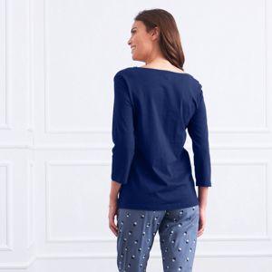 Blancheporte Pyžamové tričko s 3/4 rukávmi modrá 52