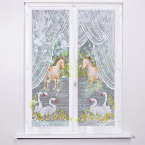 Blancheporte Vitrážové záclonky, kôň a labute, 2 ks farebný potlač 60x160cm
