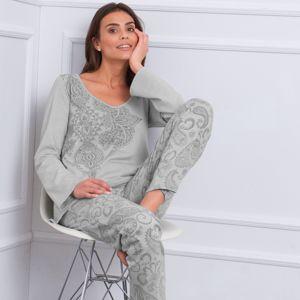 Blancheporte Pyžamo s dlhými rukávmi a potlačou kašmíru sivá 42/44