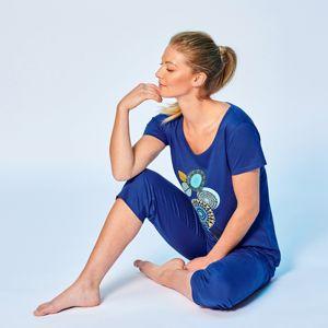 Blancheporte Pyžamo s 3/4 nohavicami, motív roziet modrá 54