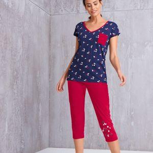 Blancheporte 3/4 pyžamové nohavice s motívom hviezdičiek červená 34/36