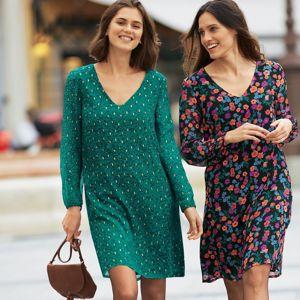 Blancheporte Voálové šaty so zlatou potlačou zelená 36