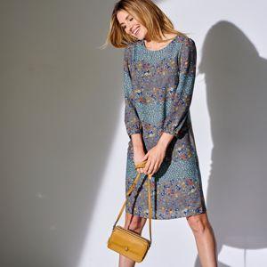 Blancheporte Rovné šaty s potlačou khaki/modrá 40