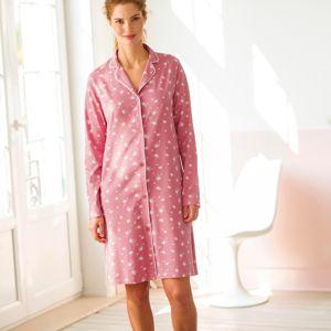 Blancheporte Nočná košeľa s kostýmkovým golierom, potlač ružová/biela 50