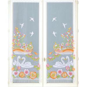 Blancheporte Rovná vitrážované záclona s motívom labutí, 1 pár biela 44x120cm