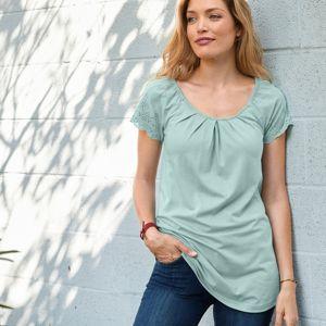 Blancheporte Jednofarebné tričko s anglickou výšivkou sivozelená 42/44