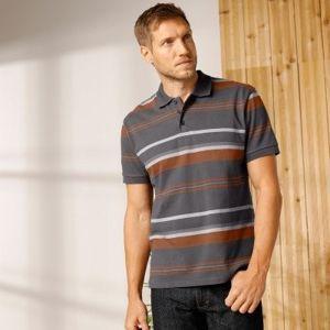 Blancheporte Prúžkované polo tričko s krátkymi rukávmi antracitová 87/96 (M)