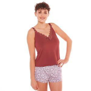 Blancheporte Pyžamo so šortkami Espérance, mikrovlákno a čipka karamelová 38/40