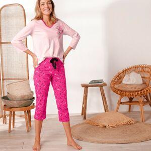 Blancheporte 3/4 pyžamové nohavice s potlačou pierok fuksia 52
