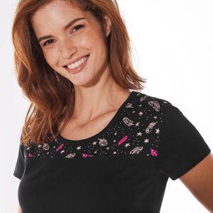Blancheporte Pyžamové tričko s krátkymi rukávmi a stredovou potlačou čierna 34/36